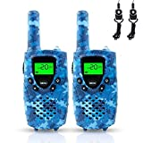 FAYOGOO Kids Walkie Talkies, 22-Channel FRS/GMRS Radio, 4-Mile Range Two Way Radios with Flashlight and LCD Screen Boys Girls Gifts Toys (Camo Blue)