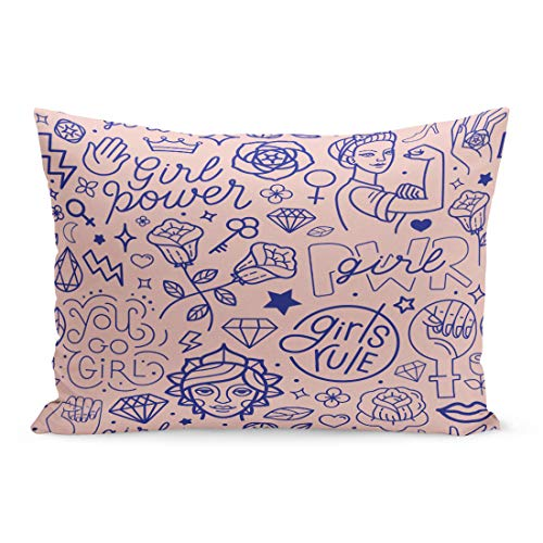 (Semtomn Throw Pillow Covers Pink Pattern and Hand Lettering Phrases Related to Girl Power Feminist Movement Abstract Female Pillow Case Cushion Cover Lumbar Pillowcase for Couch Sofa 20 x 36 inchs)