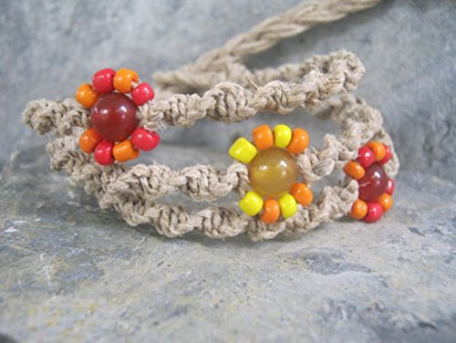 Adjustable Hemp Stacking Bracelet with Red Orange and Yellow Flower, Coral & Jade Macrame Jewelry, Handmade in USA