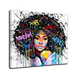 African American Canvas Bedroom Home Decor Decal Wall Art Canvas Painting Graffiti Abstract Style Poster Print Painting Decoration Living Room Simple Framed Ready to Hang (28''x28'', 1 Panel c)
