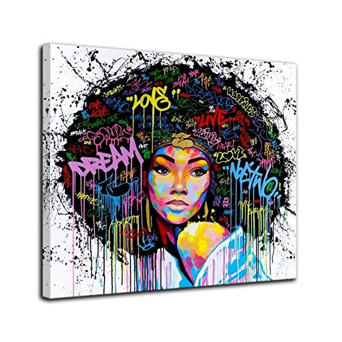 African American Canvas Bedroom Home Decor Decal Wall Art Canvas Painting Graffiti Abstract Style Poster Print Painting Decoration Living Room Simple Framed Ready to Hang (28''x28'', 1 Panel c) by VIIVEI