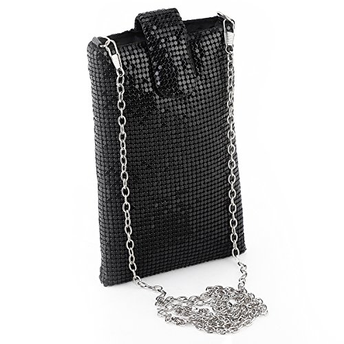 Metal mesh Small Shoulder Bag Cell Phone Purse Wallet for Women Evening Handbags Clutch Purses in Black