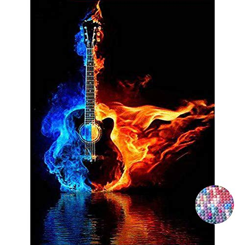 LIPHISFUN DIY 5D Diamond Painting by Number Kit for Adult, Full Round Resin Beads Drill Diamond Embroidery Dotz Kit Home Wall Decor,30x40cm,Fire Guitar ()