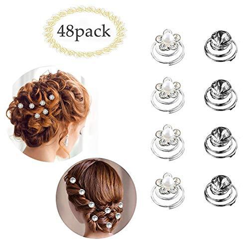 INTVN 48 pcs Espiral Horquillas para el pelo,Horquillas de metal en espiral para el pelo para nina, para bodas, fiestas, 2 estilos