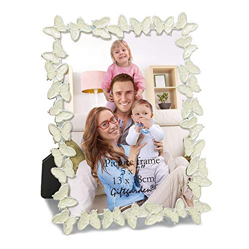 Giftgarden Metal Butterfly Decor 5 x 7 -Inch Picture Frame Photo ()