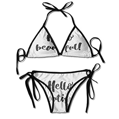 ed1fb42b472 Amazon.com: Removable Strap Wrap Bikini,Romantic Inspirational Quote Print Sexy  Bikini 2 Pie: Clothing