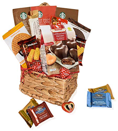 - Valentines Day Care Package - Snacks, Chocolates, Candy Gift Basket - Assortment Variety Present for Man, Woman, Friend, College Student, Husband, Wife, Boyfriend, Girlfriend, Love
