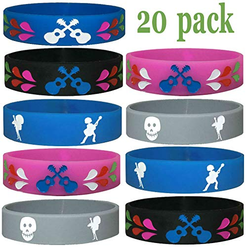 20 pcs (K) Coco Movie Halloween Party Favors Wristbands/Size Adult and Kids, Birthday Jewelry Toy Party Supplies Cute Gift Pinata Filler Halloween Gift (CocoMovie, Kids) ()