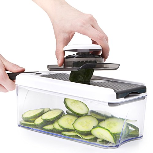 Adjustable Mandoline Slicer - 5 Blades - Vegetable Cutter, Peeler, Slicer, Grater & Julienne Slicer (Black) by HomeNative (Image #3)