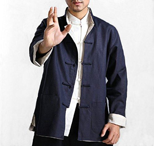 Cotton Kung Fu Jacket - Bruce Lee Wing Chun Kung Fu Jacket Both Sides Wear Tops Martial Arts Long Jersey (Dark Blue with Beige, XL)