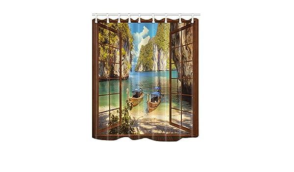 nymb Creative 3d ventanas el barco en la bahía cortina de ducha (69 x 70 cm resistente al moho tela de poliéster de baño cortinas fantástico decoraciones: Amazon.es: Hogar