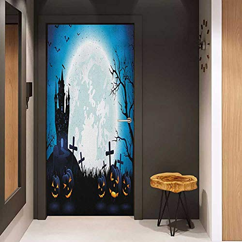 Wood Door Sticker Halloween Spooky Concept with Scary Icons Old Celtic Harvest Figures in Dark Image Holiday Print Easy-to-Clean, Durable W38.5 x H79 Blue ()