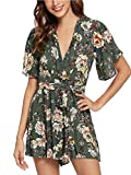 SheIn Women's V Neck Floral Print Tie Waist Short Romper Jumpsuit Small Army Green