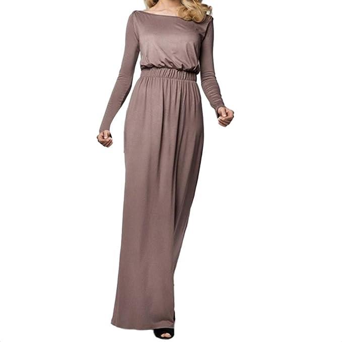 ZODOF Mujer Vestido Largo Bohemian Estilo Ropa de Playa Otoño Mujer  Estampado Maxi Vestido Largo de Manga Larga Casual Cintura Alta Bohemio  Vestidos Largos ... d1ca4a3e77ea