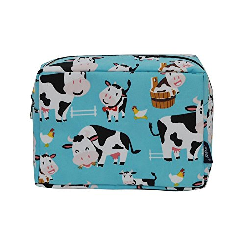 NGIL Large Travel Cosmetic Pouch Bag Spring 2018 Collection (Cow Aqua Blue)