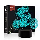 NChance LED Night Lights 3D Illusion Motorcycle Lamp 7 Colors Changing Sleeping Lighting with Touch Button Cute Halloween Gift Warming Birthday Present Creative Decoration Ideal Art and Crafts