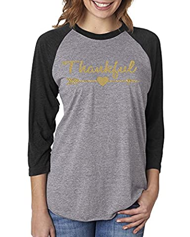Thankful Gold Glitter Christmas Shirt Womens Raglan T-Shirt Black Grey 2XL - Custom Raglan T-shirts