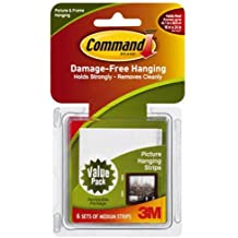 Command Medium Picture-Hanging Strips, White, 6-Strip