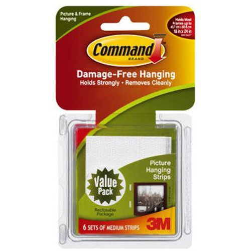 White Hangings Wall - Command Medium Picture-Hanging Strips, White, 6-Strip