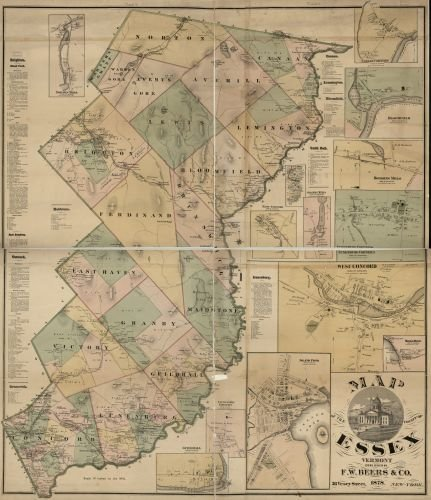 1878 Map of the county of Essex, Vermont. - Size: 20x24 - Ready to Frame - Essex County | Vermont |