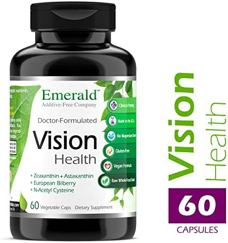 Vision Health - with Lutein & European Bilberry Extract - Supports Macular Health, Retina/Lens Strength, Eye Sensitivity - Emerald Laboratories - 60 Vegetable Capsules