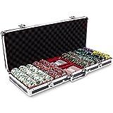 Poker Chip Holder, Claysmith 500ct Texas Holdem Travel Poker Chips Case, Black