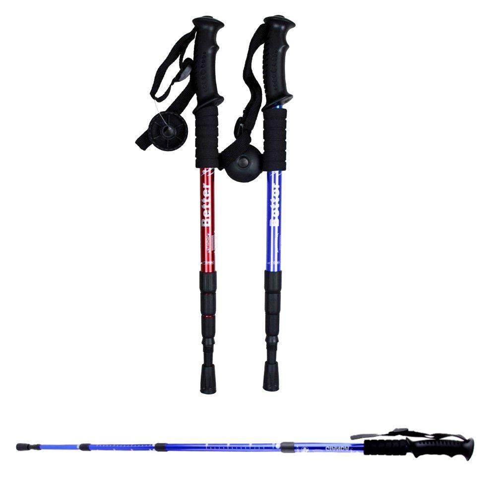 2PCS Trekking Poles Sticks, Hiking Walking Pole With Compass For Women And Men, -Adjustable From 20 to 43 , – Shock-Absorbent Strong Carbon Fiber -Lightweight Aluminum Cascade Mountain Stick