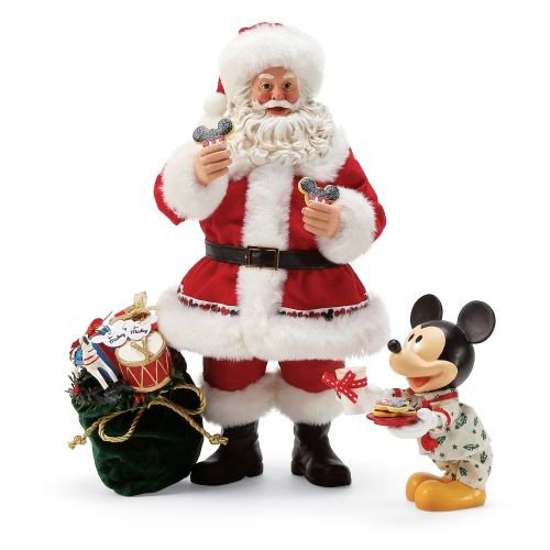 Department 56 Disney Mickey's Milk & Cookies for Santa by Possible Dreams Figurine, 10.5