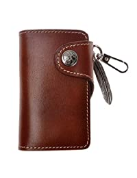 ZLYC Handmade Genuine Leather Charm Ornament Key Case Wallet Card Holder Keychain Dark Brown