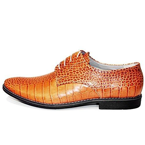 PeppeShoes Modello Kantu - Handgemachtes Italienisch Leder Herren Orange Oxfords Abendschuhe Schnürhalbschuhe - Rindsleder Geprägtes Leder - Schnüren