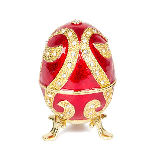QIFU-Hand Painted Enameled Faberge Egg Style Decorative Hinged Jewelry Trinket Box Unique Gift For Home ()