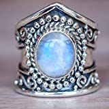 Sinwo Women Boho Jewelry Natural Gemstone Ring Marquise White Opal Personalized Ring Gift (10, Sliver)