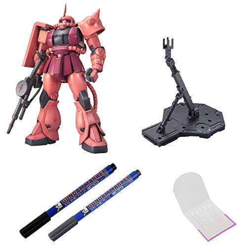 BANDAI BUNDLE SET , MS-06S Char's Zaku II Ver 2.0 Master Grade Action Figure + Action Base 1 Display Stand 1/100 Scale Black + GSI Creos Black + Gray Fine Point Gundam Marker + ORIGINAL COTTON SWAB