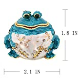 YUFENG Handpainted Trinket Box Hinged Blue Frog Figurine for Wedding Jewelry Ring Holder,Cute Animal Figurine Collectible Table Centerpiece Christmas Gift for Girl (blue frog)