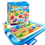 Motion Sand, 2.65lbs Play Sand, Motion Beach Mold Kit, Play Sand Set with 20 Pcs Sand Molds and 1 Sand Tray, Non-Toxic Sand Molding Set for Kids