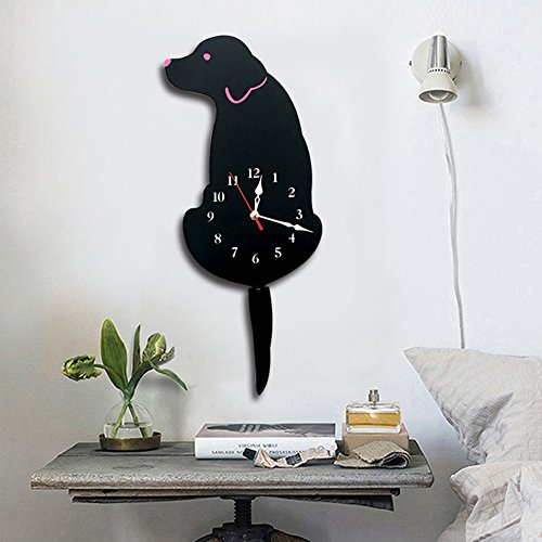 (Ukey Wall Clock Creative Dog Acrylic Wall Clock with Swing Tail Pendulum for Living Room Bedroom Kids Room Kitchen and Home Décor - Battery Not Included (42CM x 18CM))