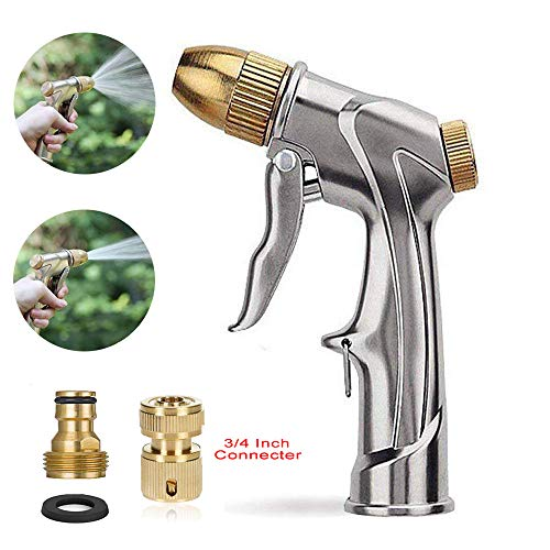 Lesgos Garden Hose Nozzle Sprayer, Adjustable High Pressure Metal Spray Gun, Handheld Heavy Duty Sprayer with 4 Watering Patterns and Quick Connector for Watering Plants, Car Wash and Showering Dog