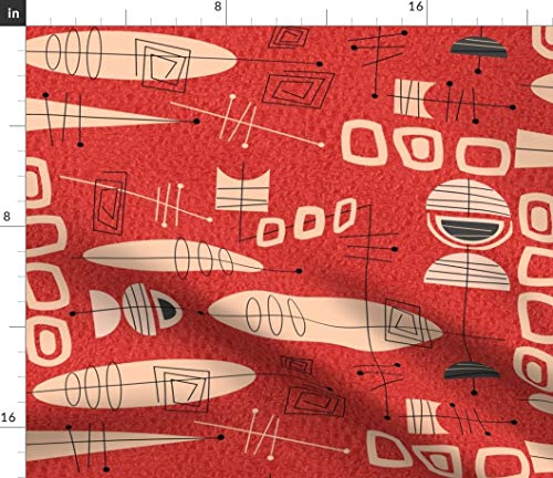 Mid-Century Modern Fabric - Century Fabric Atomic In Red Gail Gabel Mid Mod Retro Vintage Organic Kni Abstract Era Print on Fabric by the Yard - Modern Jersey - for Fashion Apparel Clothing with 4-Way
