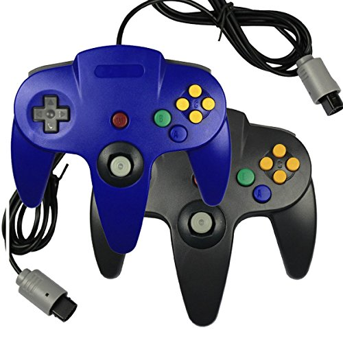 Bowink 2 packs Game gaming pad console Controllers For Nintendo 64 N64 - Black+Blue