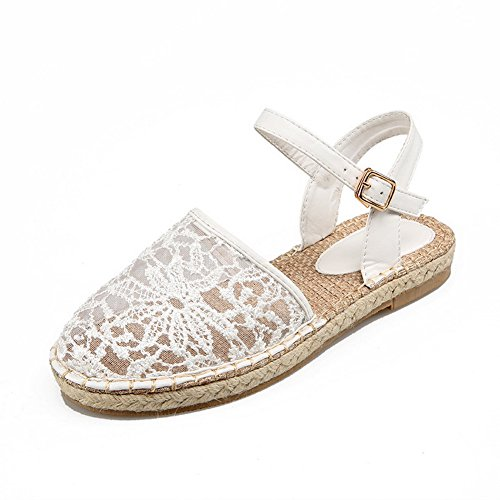 Adee Ladies Romanesque Style Round-Toe Fabric Sandals White ZyDRqVJQk
