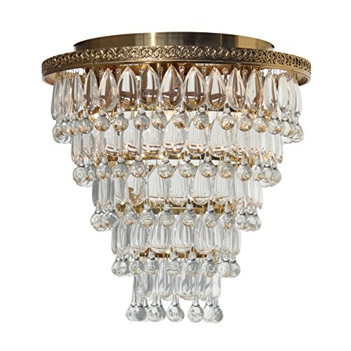 (The Weston Extra Large Brass Flush Mount Crystal Drop Chandelier)