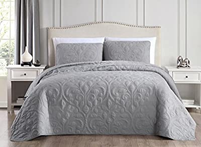 SuperBeddings Tesla (Rayon Bamboo) Pre-Washed Embroidered Coverlet Set/Made from 65% Rayon Derived from Bamboo, 35% Brushed Microfiber