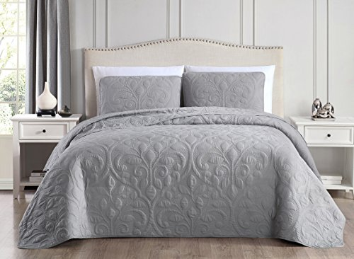 - SuperBeddings Tesla (Rayon Bamboo) Pre-Washed Embroidered Coverlet Set/Made from 65% Rayon Derived from Bamboo, 35% Brushed Microfiber (Light Grey, King)