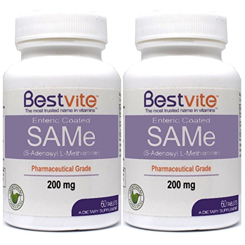 Same 200mg (120 Tablets)(2-Pack) Premium Ingredient from Italy containing More Than 75% (SS) SAM-e, The Highest Active Level Available
