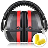 Fnova 34dB Highest NRR Safety Ear Muffs - Professional Ear Defenders for Shooting, Adjustable Headband Ear Protection / Shooting Hearing Protector Earmuffs Fits Adults to Kids (Red) (Misc.)