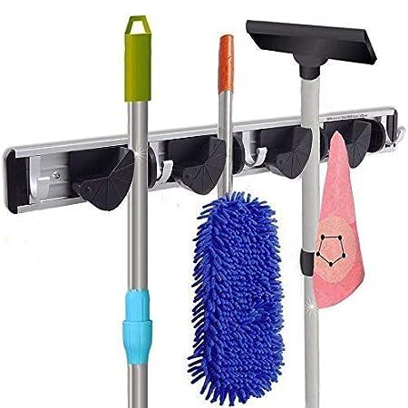 E-Ware Multi-Functional Mop Rack Senior Aluminum Clip On Broom Holder and Garden Tool Organizer for Rake or Handles