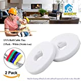 15ft Cable Tie, Mekov, Cuttable & Reusable Nylon Fastening Cable Ties 10mm Width Cord Wire Organizer for Home Office Tablet PC TV Wire Management (2 Roll, Total: 30ft, White)