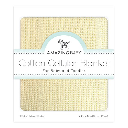 Satin Cotton Exclusive - Amazing Baby Cellular Blanket, Premium Cotton, Pastel Yellow
