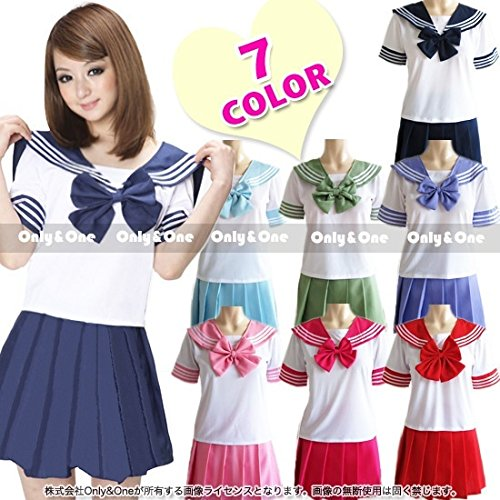7 Colors Japanese Anime Sailor Style Student School Girl Costume Uniforms Dress
