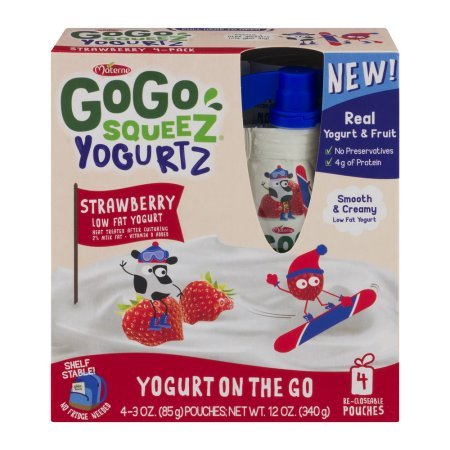 PACK OF 12 - GoGo Squeez Yogurtz Low Fat Strawberry Yogurt, 4 - 3 oz pouches by GoGo SqueeZ (Image #1)